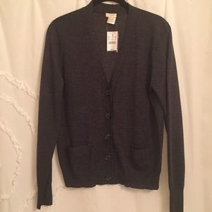 J.CREW Cardigan Medium dark gray NEW with tag